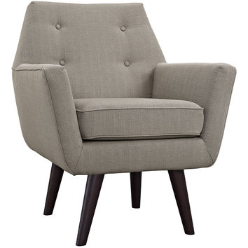 Modway Posit Armchair in Tufted Granite Fabric on Espresso Finish Legs