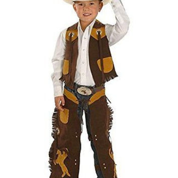 M & F Western Boys Kids Cowboy Faux Suede Vest And Chaps Set 5083002