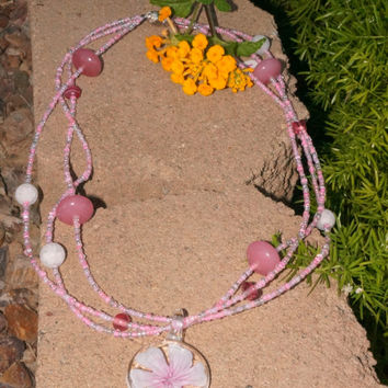 Beautiful pink spring necklace with a beautiful hand blown glass flower accent! Flower Power! Beautiful, Spring, Elegant, Beautiful