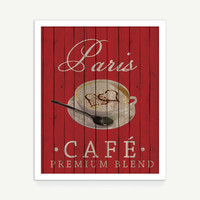 Paris Café Printable Art - Downloadable Art Print - French Coffee Wall Art - Kitchen Dining Room Wall Art Modern Wall Art- Instant Download