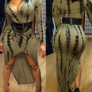 Army Green  Printed V-Neck Dress