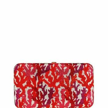 Judith Leiber Couture Coral Crystal Rectangle Clutch Bag, Red/Multi