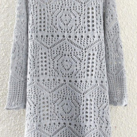 Grey Cut-Out Knitted Dress