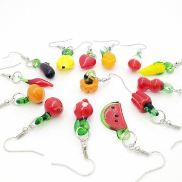 15 pairs of chic and elegant fruit random mixed glass earrings mix of colors Murano lamp earring stylish