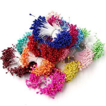 1 Bundle=150PCS Artificial Flower Double Heads Stamen Pearlized For Craft Cards Cakes Decoration Floral DIY Wreath Accessories