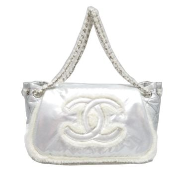 CHANEL Chain Shoulder Bag Quilted Nylon Silver
