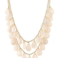 Marled Bead Bib Necklace by Charlotte Russe - Pale Peach