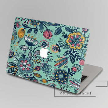 Green flower Macbook decal,Keyboard Decals,Pro Keyboard Skin,Air Sticker,apple wireless keyboard,Macbook vinyl stickers
