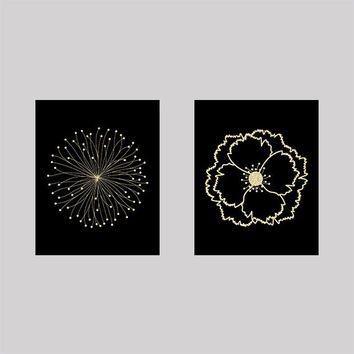 Set of 2 Gold on Black Flower Blossoms Prints CUSTOM COLORS Modern Art Prints for Nursery or Home Decor Custom Colors Modern prints  8x10