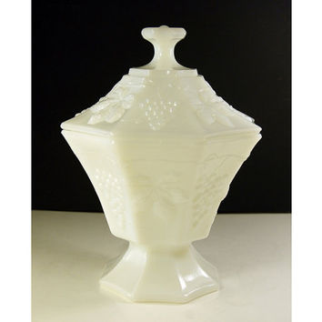 Grapes and Leaves Milk Glass Compote Candy Dish by Anchor Hocking, 1939-1945