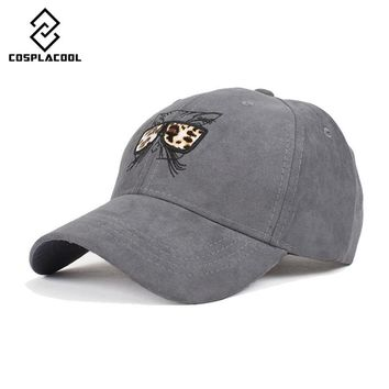 [COSPLACOOL] Lovely women's baseball cap hip-hop cap faux suede cartoon hat embroidery cat wear glasses baseball cap