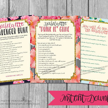 Printable bachelorette games / bachelorette party games / feminine bachelorette game bundle / drink if game / scavenger hunt / bride quiz