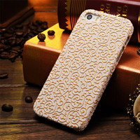 New Arrival Luxury Hard Case for iPhone 5 5S 5G Palace Flower 3D Pattern Mobile Phone Case for iPhone5 Gold White
