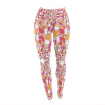 "Miranda Mol ""Flourishing Pink"" Pink Orange Yoga Leggings"