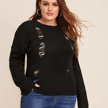 Plus Size Solid Ripped Detail Sweater