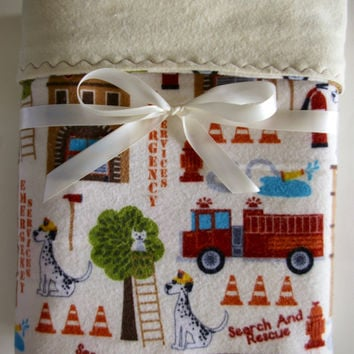 Flannel Baby blanket firefighter baby fire truck receiving  boy baby swaddling reversible toddler crib bedding  new baby gift baby girl