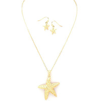 Free Spirits Gold Starfish Nautical Necklace Set