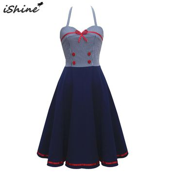 iShine summer women bowtie button halter stripe dress vestidos backless sexy party 50 60s big swing rockabilly dress robe