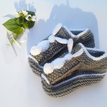Knitting Slippers/ Womens Slippers Socks/ Rabbit Slippers/ Warm Slippers/ Teen Slippers/ Gray Slippers