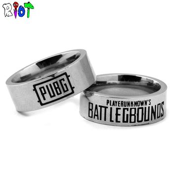 STG Game Playerunknown's Battlegrounds Stainless Steel Finger Ring PUBG WINNER Letter Design Chicken Dinner Charms Gift Bague