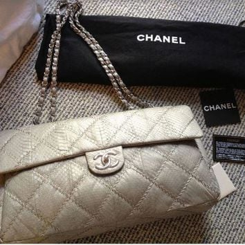Chanel Auth Soft Grey/Silver Python Quilted Shoulder Bag w Silver HDW - $11,263+