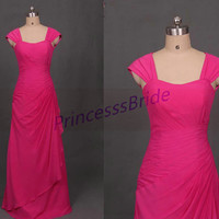 2014 long rose red chiffon bridesmaid dress,simple women dresses affordable,cheap elegant gowns for the mother of the bride.
