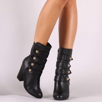 Military Chunky Heeled Ankle Boots