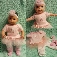 "Baby Doll Clothes to fit 15 inch doll ""Ballet Slippers"" Will fit Bitty Baby®  doll outfit dress shorts socks headband twins handmade J4"