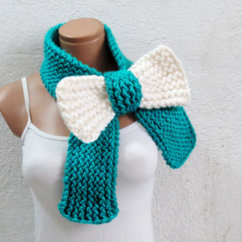 Knitted Bow Scarf Chunky Knitted Bow Ascot Neck Warmer Women's Scarf Fashion Accessories in Neon Mint Cream, SCARVES, 2014 Trend