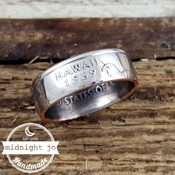 Hawaii State Quarter Coin Ring