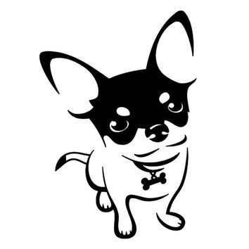 9.6*13.7CM Chihuahua Dog Vinyl Decal Cartoon Animal Car Stickers Bumper Motorcycle Car Styling Black/Silver S1-0496
