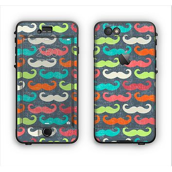 The Colorful Scratched Mustache Pattern Apple iPhone 6 LifeProof Nuud Case Skin Set