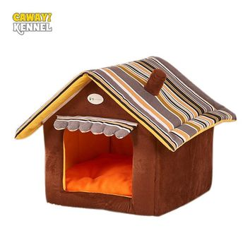 CAWAYI KENNEL Stripe Soft Home Shape Dog Bed Dog Kennel Pet House For Puppy Dogs Cat Small Animals Home Products Removable U0855