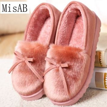 women boots winter warm fur snow boots flat slip on  lazy shoes for women ankle boots bowtie comfort women casual shoes pink