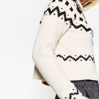CROPPED JACQUARD SWEATER