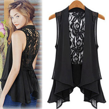 Plus Size Chiffon Lace Vest Jacket [4970295684]