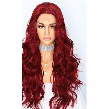 Menaal- Red Natural Wave Hand Tied Synthetic Lace Front Wig