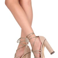 NUDE ROPE ANKLE WRAP STRAPPY HEEL