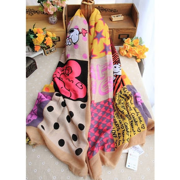 2015 Spring Autumn New Style Snoopy Soft Cotton Polka Dot Puppy Heart The Stars Flash Scarf Shawl Round