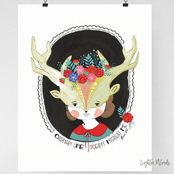 Quote art print Folk art Forest Free spirit Whimsical illustration Woodland creatures Creepy cute Girl power Glicee Motivational poster