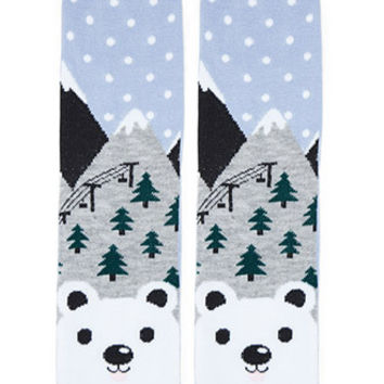 Polar Bear Print Crew Socks