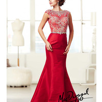 (PRE-ORDER) Mac Duggal 2014 Prom Dresses - Red Taffeta & Lace Applique Cap Sleeve Prom Gown