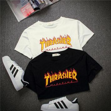 ICIKHQ6 THRASHER'  Magazine Flame Personality T-Shirt Print Short Sleeve Top