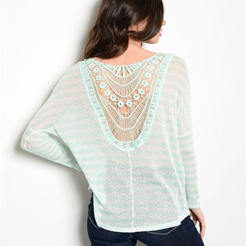 Mint Green and Cream Crochet Knit Top