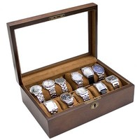 Caddy Bay Collection Vintage Wood Watch Box Display Storage Case Chest With Glass Top Holds 10+ Watches With Adjustable Soft Pillows and High Clearance for Larger Watches