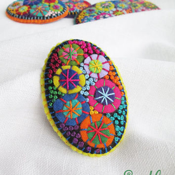 Color Textile Firework Brooch | Felt Brooch | Textile Art Jewelry | Idea for Gift | Creative Original Unusual Pin | Yellow Summer Color