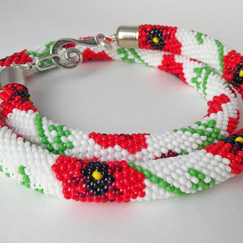 Poppies Necklace - Flowers Necklace - Bead Crochet Necklace - Beadwork Necklace - Red White Green - Ethno style - Made to order