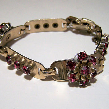 Barclay Pink Rhinestone Bracelet, Gold Tone Curved Links, Mid Century Jewelry, Arm Party, Layering Bracelet 917