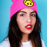 Neon Pink Smiley Beanie