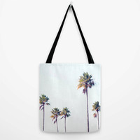 Fort De Soto Palms - Tote Bag, Beach Tropical Palm Trees Carrier, Light Blue & Green Boho Chic Surf Style Accessory. In Basic and Adjustable